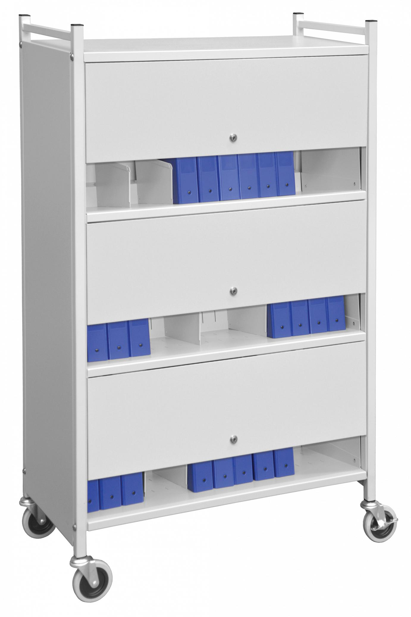 Multipurpose Mobile 3 Shelf Chart Rack With Privacy Panels